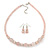 Rose Quartz, Pink Glass Bead, Clear Crystal Ring Necklace & Drop Earrings In Silver Tone - 40cm Length/ 5cm Extension - view 2