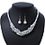 White Simulated Glass Pearls & Transparent Crystal Bead Cluster Necklace & Drop Earrings In Rhodium Plating - 38cm/ 7cm Extension - view 2