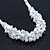 White Simulated Glass Pearls & Transparent Crystal Bead Cluster Necklace & Drop Earrings In Rhodium Plating - 38cm/ 7cm Extension - view 5