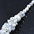 White Simulated Glass Pearls & Transparent Crystal Bead Cluster Necklace & Drop Earrings In Rhodium Plating - 38cm/ 7cm Extension - view 14