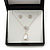 Clear Austrian Crystal Simulated Pearl Pendant with Silver Tone Chain and Stud Earrings Set - 46cm L/ 5cm Ext - Gift Boxed - view 2