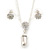 Clear Austrian Crystal Simulated Pearl Pendant with Silver Tone Chain and Stud Earrings Set - 46cm L/ 5cm Ext - Gift Boxed