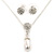 Clear Austrian Crystal Simulated Pearl Pendant with Silver Tone Chain and Stud Earrings Set - 46cm L/ 5cm Ext - Gift Boxed - view 9