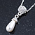 Clear Austrian Crystal Simulated Pearl Pendant with Silver Tone Chain and Stud Earrings Set - 46cm L/ 5cm Ext - Gift Boxed - view 4