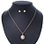 Classic Clear Austrian Crystal Simulated Button Pearl Pendant With Gold Tone Chain and Stud Earrings Set - 46cm L/ 5cm Ext - Gift Boxed - view 9