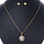 Classic Clear Austrian Crystal Simulated Button Pearl Pendant With Gold Tone Chain and Stud Earrings Set - 46cm L/ 5cm Ext - Gift Boxed - view 8