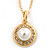 Classic Clear Austrian Crystal Simulated Button Pearl Pendant With Gold Tone Chain and Stud Earrings Set - 46cm L/ 5cm Ext - Gift Boxed - view 12