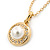 Classic Clear Austrian Crystal Simulated Button Pearl Pendant With Gold Tone Chain and Stud Earrings Set - 46cm L/ 5cm Ext - Gift Boxed - view 6