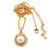 Classic Clear Austrian Crystal Simulated Button Pearl Pendant With Gold Tone Chain and Stud Earrings Set - 46cm L/ 5cm Ext - Gift Boxed - view 13