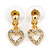 Clear Austrian Crystal Double Heart Pendant With Gold Tone Chain and Stud Earrings Set - 40cm L/ 5cm Ext - Gift Boxed - view 11