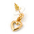 Clear Austrian Crystal Double Heart Pendant With Gold Tone Chain and Stud Earrings Set - 40cm L/ 5cm Ext - Gift Boxed - view 5