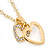 Clear Austrian Crystal Double Heart Pendant With Gold Tone Chain and Stud Earrings Set - 40cm L/ 5cm Ext - Gift Boxed - view 8