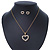 Clear Austrian Crystal Open Cut Heart Pendant With Gold Tone Chain and Stud Earrings Set - 40cm L/ 5cm Ext - Gift Boxed - view 9