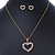 Clear Austrian Crystal Open Cut Heart Pendant With Gold Tone Chain and Stud Earrings Set - 40cm L/ 5cm Ext - Gift Boxed - view 10
