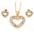 Clear Austrian Crystal Open Cut Heart Pendant With Gold Tone Chain and Stud Earrings Set - 40cm L/ 5cm Ext - Gift Boxed - view 11