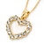 Clear Austrian Crystal Open Cut Heart Pendant With Gold Tone Chain and Stud Earrings Set - 40cm L/ 5cm Ext - Gift Boxed - view 14