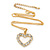 Clear Austrian Crystal Open Cut Heart Pendant With Gold Tone Chain and Stud Earrings Set - 40cm L/ 5cm Ext - Gift Boxed - view 5