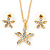 Clear Austrian Crystal Daisy Flower Pendant With Gold Tone Chain and Stud Earrings Set - 46cm L/ 6cm Ext - Gift Boxed