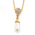 Clear Austrian Crystal Simulated Pearl Pendant with Gold Tone Chain and Stud Earrings Set - 46cm L/ 5cm Ext - Gift Boxed - view 11