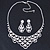 Bridal Clear Crystal 'Lacy' Bib Necklace And Drop Earring Set In Rhodium Plated Metal - 40cm L/ 10cm Ext - view 10