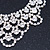 Bridal Clear Crystal 'Lacy' Bib Necklace And Drop Earring Set In Rhodium Plated Metal - 40cm L/ 10cm Ext - view 6