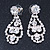 Bridal Clear Crystal 'Lacy' Bib Necklace And Drop Earring Set In Rhodium Plated Metal - 40cm L/ 10cm Ext - view 11