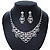 Bridal Clear Crystal 'Lacy' Bib Necklace And Drop Earring Set In Rhodium Plated Metal - 40cm L/ 10cm Ext - view 3