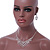 Bridal Clear Crystal 'Lacy' Bib Necklace And Drop Earring Set In Rhodium Plated Metal - 40cm L/ 10cm Ext - view 4