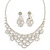Bridal Clear Crystal 'Lacy' Bib Necklace And Drop Earring Set In Rhodium Plated Metal - 40cm L/ 10cm Ext - view 2