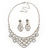 Bridal Clear Crystal 'Lacy' Bib Necklace And Drop Earring Set In Rhodium Plated Metal - 40cm L/ 10cm Ext - view 14