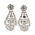 Bridal Clear Crystal 'Lacy' Bib Necklace And Drop Earring Set In Rhodium Plated Metal - 40cm L/ 10cm Ext - view 15