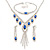 Bridal/ Prom/ Wedding Blue/ Clear Crystal Leaf V-shape Necklace, Bracelet and Drop Earrings Set In Silver Tone - Necklace 34cm L/ 12cm Ext, Bracelet 1 - view 1