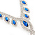Bridal/ Prom/ Wedding Blue/ Clear Crystal Leaf V-shape Necklace, Bracelet and Drop Earrings Set In Silver Tone - Necklace 34cm L/ 12cm Ext, Bracelet 1 - view 13