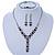 Bridal/ Prom/ Wedding Black/ Grey/ Clear Crystal V-shape Necklace, Bracelet and Drop Earrings Set In Black Tone - Necklace 34cm L/ 12cm Ext, Bracelet - view 2