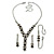 Bridal/ Prom/ Wedding Black/ Grey/ Clear Crystal V-shape Necklace, Bracelet and Drop Earrings Set In Black Tone - Necklace 34cm L/ 12cm Ext, Bracelet - view 10