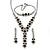Bridal/ Prom/ Wedding Black/ Grey/ Clear Crystal V-shape Necklace, Bracelet and Drop Earrings Set In Black Tone - Necklace 34cm L/ 12cm Ext, Bracelet