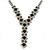 Bridal/ Prom/ Wedding Black/ Grey/ Clear Crystal V-shape Necklace, Bracelet and Drop Earrings Set In Black Tone - Necklace 34cm L/ 12cm Ext, Bracelet - view 11