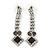 Bridal/ Prom/ Wedding Black/ Grey/ Clear Crystal V-shape Necklace, Bracelet and Drop Earrings Set In Black Tone - Necklace 34cm L/ 12cm Ext, Bracelet - view 8