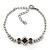 Bridal/ Prom/ Wedding Black/ Grey/ Clear Crystal V-shape Necklace, Bracelet and Drop Earrings Set In Black Tone - Necklace 34cm L/ 12cm Ext, Bracelet - view 7