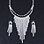 Statement Bridal Clear/ Black Crystal Fringe Necklace & Earrings Set In Silver Tone Metal - 35cm L/ 12cm Ext - view 5