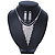 Statement Bridal Clear/ Black Crystal Fringe Necklace & Earrings Set In Silver Tone Metal - 35cm L/ 12cm Ext - view 2