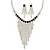 Statement Bridal Clear/ Black Crystal Fringe Necklace & Earrings Set In Silver Tone Metal - 35cm L/ 12cm Ext
