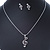 Clear Austrian Crystal Treble Clef Pendant With Silver Tone Chain and Stud Earrings Set - 46cm L/ 5cm Ext - Gift Boxed - view 2