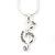 Clear Austrian Crystal Treble Clef Pendant With Silver Tone Chain and Stud Earrings Set - 46cm L/ 5cm Ext - Gift Boxed - view 7