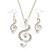 Diamante 'Treble Clef' Pendant With Long Silver Tone Chain & Drop Earrings Set - 72cm Length/ 4cm Extension