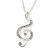 Diamante 'Treble Clef' Pendant With Long Silver Tone Chain & Drop Earrings Set - 72cm Length/ 4cm Extension - view 4