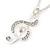 Diamante 'Treble Clef' Pendant With Long Silver Tone Chain & Drop Earrings Set - 72cm Length/ 4cm Extension - view 6