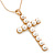 Large Faux Pearl Cross Pendant With 74cm L/ 6cm Ext Gold Tone Chain & Drop Earrings - - view 3