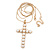 Large Faux Pearl Cross Pendant With 74cm L/ 6cm Ext Gold Tone Chain & Drop Earrings - - view 5