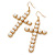Large Faux Pearl Cross Pendant With 74cm L/ 6cm Ext Gold Tone Chain & Drop Earrings - - view 4